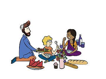 Geo Tour Grafik Cache Begegnung beim Picknick
